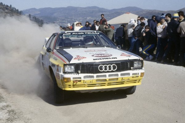 1984 World Rally Championship.Portuguese Rally, Portugal. 6-11 March 1984.Hannu Mikkola/Arne Hertz (Audi Quattro A2), 1st position.World Copyright: LAT PhotographicRef: 35mm transparency 84RALLY03