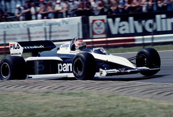 1983 British Grand Prix.Silverstone, England.14-16 July 1983.Nelson Piquet (Brabham BT52B BMW) 2nd position.Ref-83 GB 43.World Copyright - LAT Photographic
