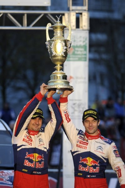 Sebastien Loeb (FRA) and Daniel Elena (MON) with the RAC Trophy.