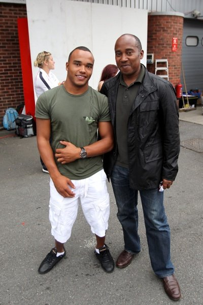 L-R: Nicolas Hamilton (GBR) with his father Anthony Hamilton (GBR).Volkswagen Scirocco Cup, Brands Hatch, England, 2-4 September 2011.