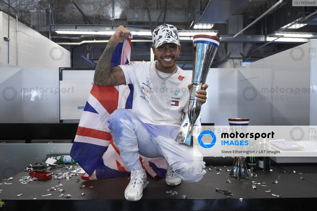 Lewis Hamilton, Mercedes AMG F1, celebrates winning his sixth Formula 1 drivers' world championship