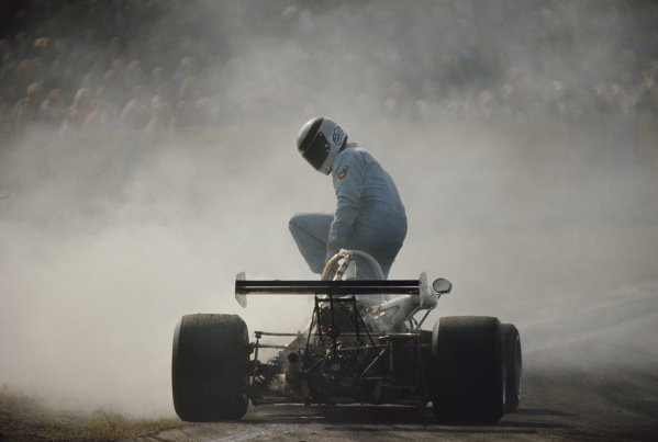 Jean-Pierre Jaussaud climbs out of his Ecurie A.S.C.A., Brabham BT38 Ford.