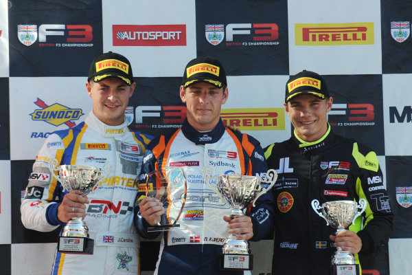 Podium, Jack Mitchell, Jamie Caroline (GBR) Carlin Motorsport BRDC F3, Nicolai Kjaergaard (DEN) Carlin BRDC British F3 and Linus Lundqvist (SWE) Double R BRDC British F3