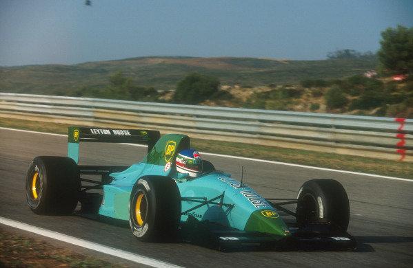1991 Portuguese Grand Prix.Estoril, Portugal.20-22 September 1991.Ivan Capelli (Leyton House CG911 Ilmor) 17th position.Ref-91 POR 14.World Copyright - LAT Photographic