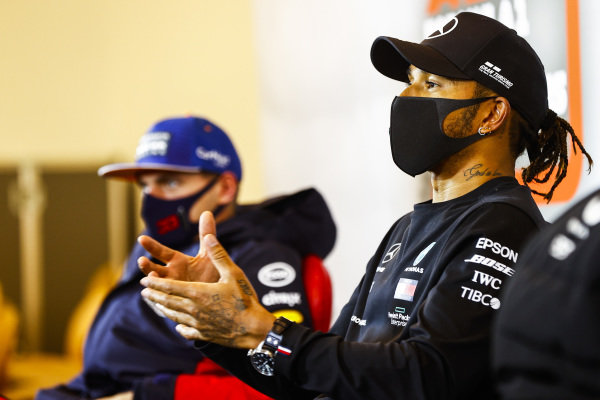 Lewis Hamilton, Mercedes-AMG Petronas F1, 1st position, and Max Verstappen, Red Bull Racing, 2nd position, in the Press Conference