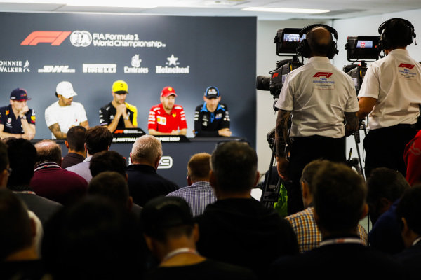 Max Verstappen, Red Bull Racing, Lewis Hamilton, Mercedes AMG F1, Daniel Ricciardo, Renault F1 Team, Sebastian Vettel, Ferrari and Robert Kubica, Williams Racing during Press Conference