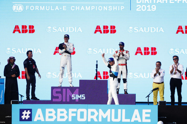 Alexander Sims (GBR) BMW I Andretti Motorsports, BMW iFE.20, celebrates at the podium after winning the race