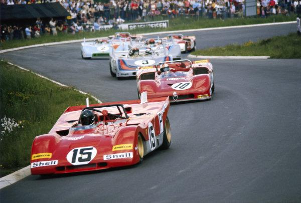 Jacky Ickx / Clay Regazzoni, S.p.A. Ferrari SEFAC, Ferrari 312 PB 0878 leads Rolf Stommelen / Nanni Galli, Autodelta S.p.A, Alfa Romeo T33/3 and Vic Elford / Gérard Larrousse, International Martini Racing Team, Porsche 908/03 008.