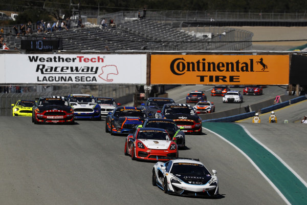 #69 Motorsports In Action, McLaren GT4, GS: Corey Fergus, Jesse Lazare, #28 RS1, Porsche Cayman GT4 MR, GS: Dillon Machavern, Spencer Pumpelly, start