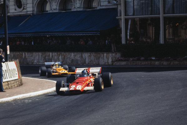 Jacky Ickx, Ferrari 312B leads Denny Hulme, McLaren M14A Ford.