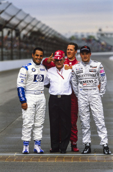 Bernie Ecclestone on the Yard of Bricks with championship contenders Juan Pablo Montoya, Michael Schumacher and Kimi Räikkönen.