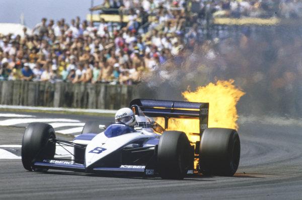 Andrea de Cesaris, Brabham BT56 BMW, suffering a spectacular engine failure.