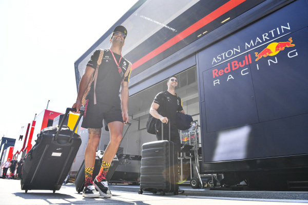 Daniel Ricciardo, Renault F1 Team arrives in the paddock his luggage