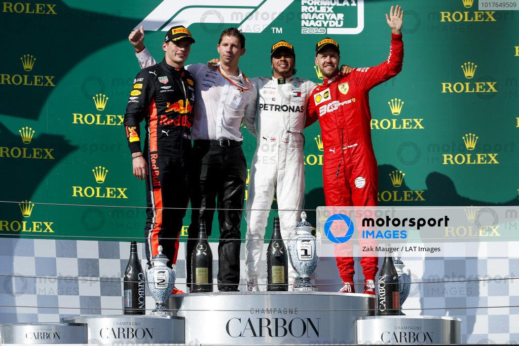 Max Verstappen, Red Bull Racing, James Vowles, Motorsport Strategy Director, Mercedes AMG F1 Race winner Lewis Hamilton, Mercedes AMG F1 and Sebastian Vettel, Ferrari celebrate on the podium