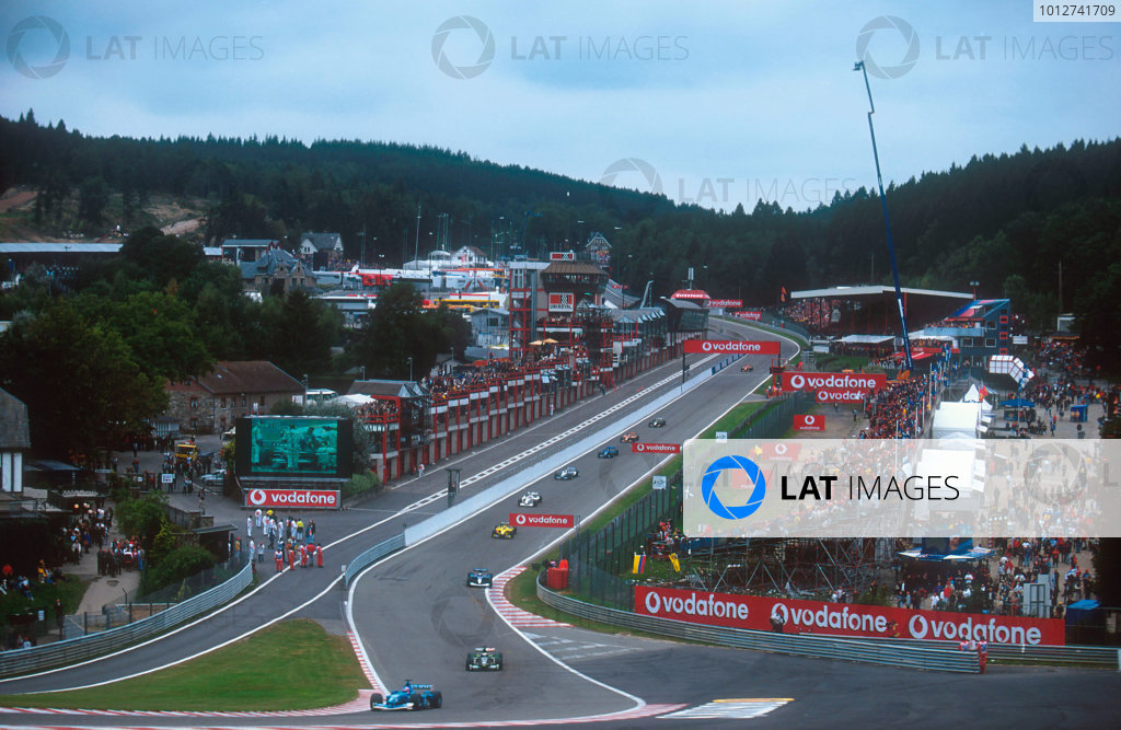 2001 Belgian Grand Prix.Spa-Francorchamps, Belgium.31/8-2/9 2001.The cars file through Eau Rouge, with its newly contructed runoff area, now tarmac instead of gravel and the addition of a new pit lane exit for the F3000 cars.Ref-01 BEL 06.World Copyright - LAT Photographic