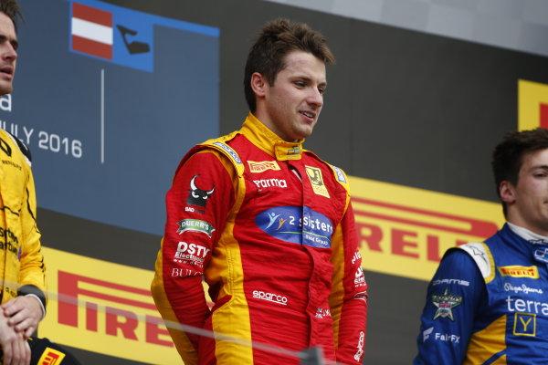 Jordan King (GBR, Racing Engineering celebrates on the podium. 2016 GP2 Series Round 4 Red Bull Ring, Spielberg, Austria. Sunday 3 July 2016.  Photo: Andy Hone/GP2 Series Media Service. ref: Digital Image _ONY5404