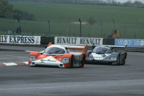 Silverstone, England. 8th May 1983. Rd 2.Stefan Johansson/Bob Wollek (Porsche 956), 2nd position, leads Axel Plankenhorn/Jurgen Lassig/Harald Grohs (Porsche 956), 4th position, action. World Copyright: LAT Photographic.Ref:  83SIL04