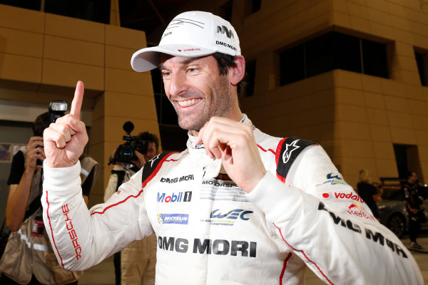 2015 FIA World Endurance Championship Bahrain 6-Hours Bahrain International Circuit, Bahrain Saturday 21 November 2015. Mark Webber (#17 LMP1 Porsche AG Porsche 919 Hybrid celebrates after winning the drivers championship. World Copyright: Alastair Staley/LAT Photographic ref: Digital Image _79P1341