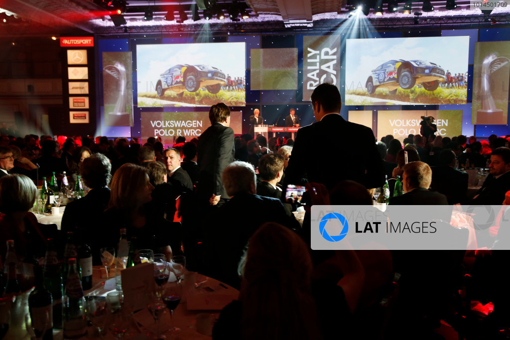 2015 Autosport Awards. Grosvenor House Hotel, Park Lane, London. Sunday 6 December 2015. Rally Car of the Year, Volkswagen Polo R WRC, Jost Capito and Francois-Xavier Demaison. World Copyright: Adam Warner/LAT Photographic. ref: Digital Image _L5R9401