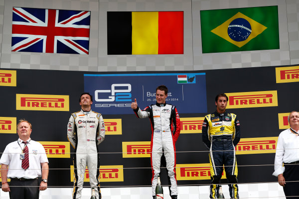 2014 GP2 Series Round 7. Hungaroring, Budapest, Hungary. Sunday 27 July 2014. Stoffel Vandoorne (BEL, ART Grand Prix), Jolyon Palmer (GBR, DAMS) & Felipe Nasr (BRA, Carlin)  Photo: Sam Bloxham/GP2 Series Media Service. ref: Digital Image _SBL9478