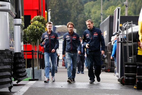 Spa-Francorchamps, Spa, Belgium. Friday 22 August 2014. Daniil Kvyat, Toro Rosso, and Jean-Eric Vergne, Toro Rosso. World Copyright: Charles Coates/LAT Photographic. ref: Digital Image _J5R9136