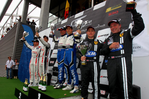 2014 Avon Tyres British GT Championship, Spa Francorchamps, Belgium. 11th - 12th July 2014. Race 2 GT3 Podium (l-r) Sir Chris Hoy / Wolfgang Reip Nissan GT Academy Team RJN Nissan GT-R GT3, Marco Attard / Alexander Sims Ecurie Ecosse BMW Z4, Gary Eastwood / Adam Carroll FF Corse Ferrari 430. World Copyright: Ebrey / LAT Photographic.