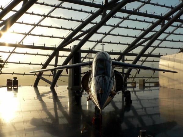 A Dassault - Breguet Alphajet in the Red Bull Hanger 7. Red Bull Hanger-7, Salzburg, Austria, 15 November 2004. DIGITAL IMAGE