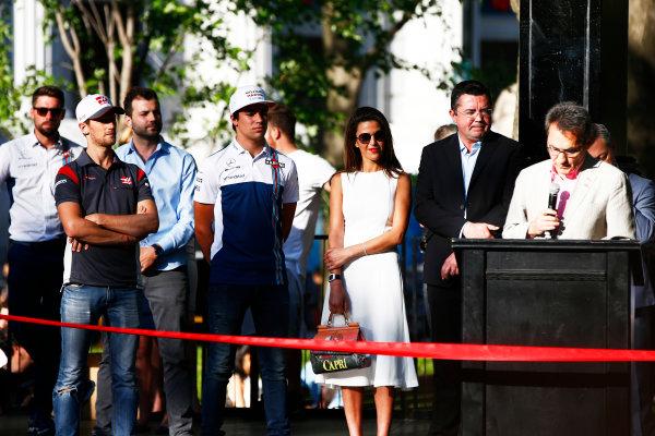 Circuit Gilles Villeneuve, Montreal, Canada. Wednesday 7 June 2017. Romain Grosjean, Haas F1, Lance Stroll, Williams Martini Racing and Eric Boullier World Copyright: Hone/LAT Images ref: Digital Image _ONZ1143