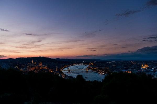 Hungaroring, Budapest, Hungary. Monday 5 June 2017. A view of the city at dusk. World Copyright: Zak Mauger/LAT Images ref: Digital Image _56I0572