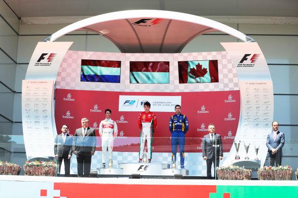Baku City Circuit, Baku, Azerbaijan. Saturday 24 June 2017. Charles Leclerc (MCO, PREMA Racing) Nyck De Vries (NED, Rapax) and Nicholas Latifi (CAN, DAMS)  World Copyright: Zak Mauger/LAT Images ref: Digital Image _56I7709