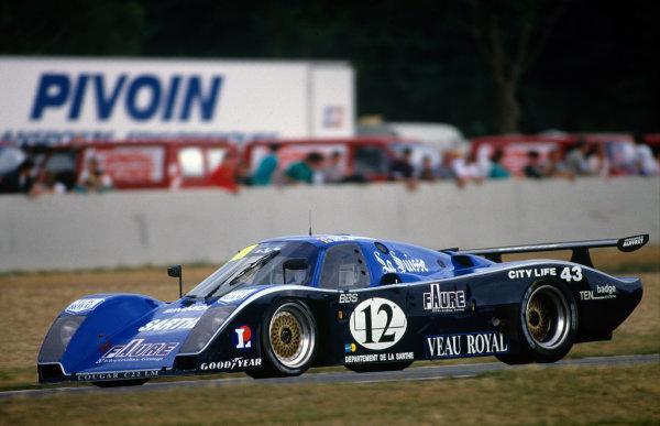 Le Mans, France. 10th - 11th June 1989.Patrick Gonin/Bernard de Dryver/Bernard Santal (Cougar C22LM Porsche), retired, action. World Copyright: LAT Photographic.Ref: 89LM50