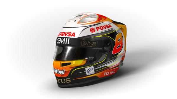 Circuito de Jerez, Jerez, Spain. Wednesday 4 February 2015. Helmet of Romain Grosjean, Lotus F1.  World Copyright: Lotus F1 Team (Copyright Free FOR EDITORIAL USE ONLY) ref: Digital Image 2015_LOTUS_HELMET_03