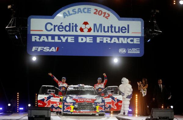 Round 11, Rallye de France 20124th - 7th October 2012SŽbastien Loeb, Daniel Elena, Citroen, podiumWorldwide Copyright: McKlein/LAT