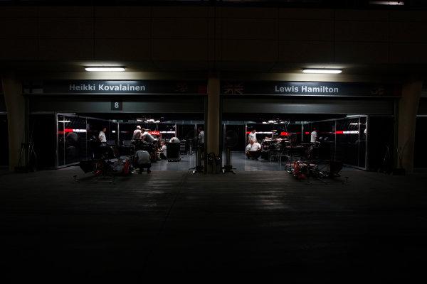 Bahrain International Circuit, Sakhir, Bahrain24th April 2009The McLaren garage by night. Garages. Atmosphere. World Copyright: Andrew Ferraro/LAT Photographicref: Digital Image _H0Y8784
