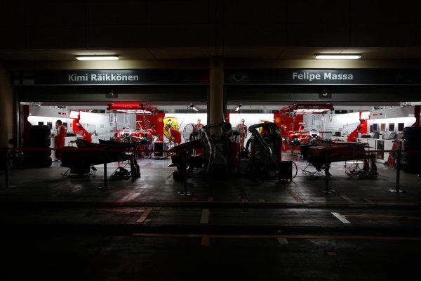 Bahrain International Circuit, Sakhir, Bahrain24th April 2009The Ferrari garage by night. Garages. Atmosphere. World Copyright: Andrew Ferraro/LAT Photographicref: Digital Image _H0Y8790
