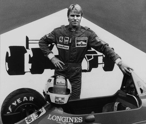 Imola, Italy.3-5 May 1985.Stefan Johansson (Ferrari 156/85) 6th position, portrait.World Copyright - LAT Photographic