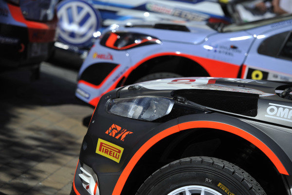 Cars line up at FIA World Rally Championship, Rd7, Lotos 71st Rally Poland, Preparations & Shakedown, Mikolajki, Poland, Thursday 2 July 2015.