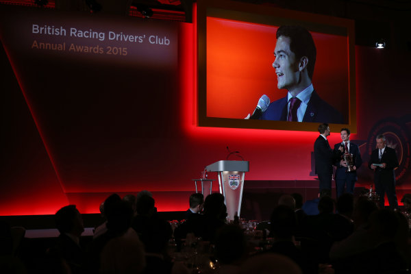 2015 British Racing Drivers Club Awards Grand Connaught Rooms, London Monday 7th December 2015 Will Palmer on stage. World Copyright: Jakob Ebrey/LAT Photographic ref: Digital Image Palmer-02