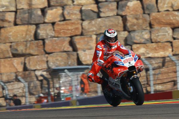 2017 MotoGP Championship - Round 14 Aragon, Spain. Saturday 23 September 2017 Jorge Lorenzo, Ducati Team World Copyright: Gold and Goose / LAT Images ref: Digital Image 694193
