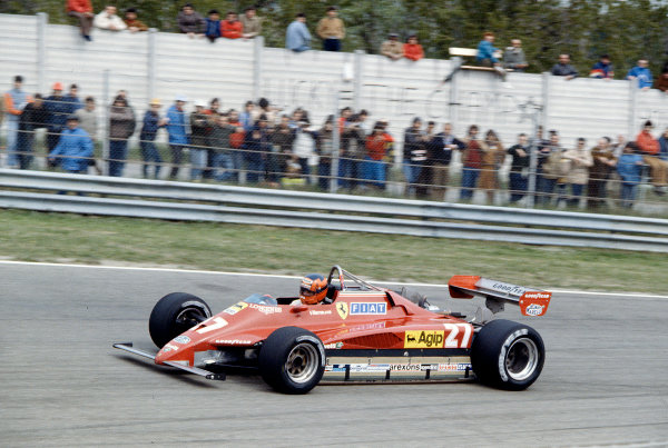 1982 San Marino Grand Prix.Imola, Italy.23-25 April 1982.Gilles Villeneuve (Ferrari 126C2) 2nd position.Ref-82 SM 63.World Copyright - LAT Photographic