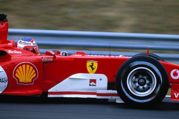 2004 Hungarian Grand Prix Hungaroring, Hungary. 13th - 15th August. Rubens Barrichello, Ferrari F2004. Action. World Copyright:Charles Coates/LAT Photographic Ref:35mm Image:A09