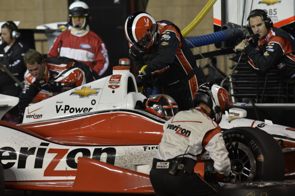 Juan Pablo Montoya (COL) Team Penske, makes a pit stop.