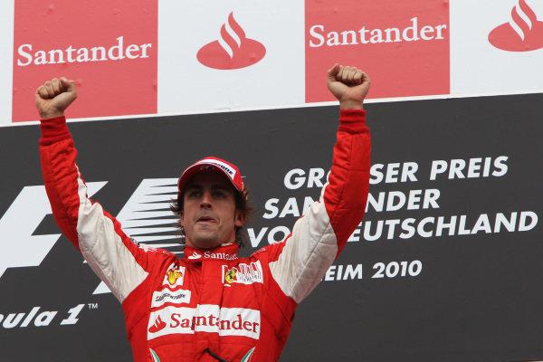 Race winner Fernando Alonso (ESP) Ferrari celebrates in parc ferme. Formula One World Championship, Rd 11, German Grand Prix, Race, Hockenheim, Germany, Sunday 25 July 2010.