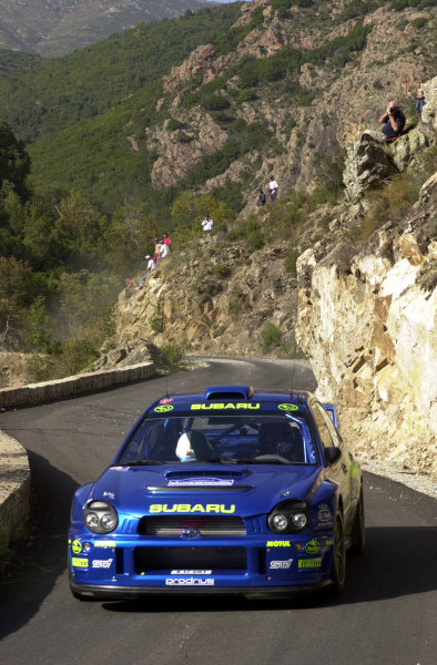 2001 World Rally Championship.Rallye de France, Ajaccio, Corsica, October 19-21.Petter Solberg on stage 5.Photo: Ralph Hardwick/LAT