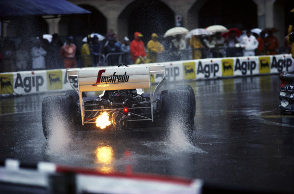 Johnny Cecotto, Toleman TG184 Hart, with flame from the exhaust at Rascasse.