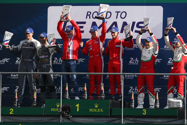 GT3 Podium, #40 Mercedes AMG GT3 - SPS AUTOMOTIVEPERFORMANCE / Valentin Pierburg / Tom Onslow-Cole, #71 Ferrari 488 GT3 - LUZICH RACING / Mikkel Mac / Fabien Lavergne, #51 Ferrari 488 GT3 - SPIRIT OF RACE / Christoph Ulrich / Maurizio Mediani