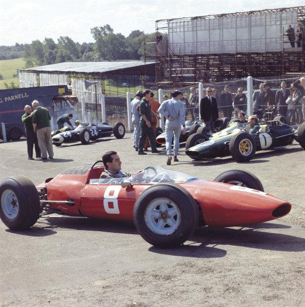 1964 British Grand Prix Brands Hatch, England. 9-11 July 1964 Lorenzo Bandini (Ferrari 156) in parc ferme. Exhibition ref: a026 World Copyright - LAT Photographic