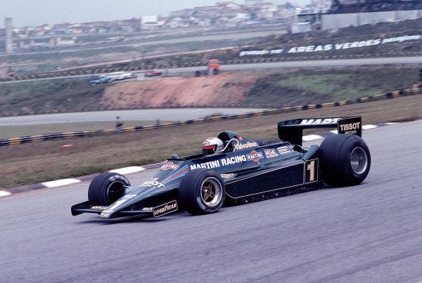 1979 Brazilian Grand Prix.Interlagos, Sao Paulo, Brazil.2-4 February 1979.Mario Andretti (Lotus 79 Ford).Ref-79 BRA 13.World Copyright - LAT Photographic