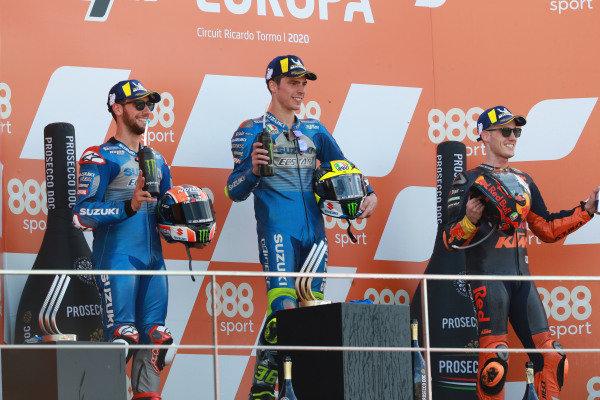 Race winner Joan Mir, Team Suzuki MotoGP, second place Alex Rins, Team Suzuki MotoGP, third place Pol Espargaro, Red Bull KTM Factory Racing.