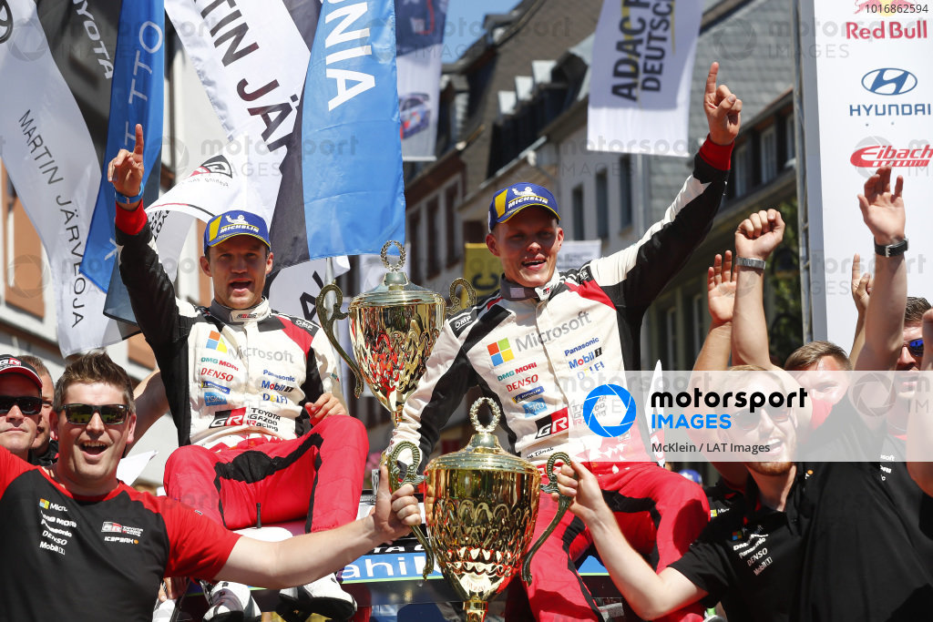 Ott Tanak and Martin Jarveoja celebrate winning Rallye Deutschland 2018